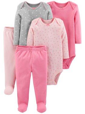 Basic Long Sleeve Bodysuits & Pants, 5pc Set (Baby Girls)