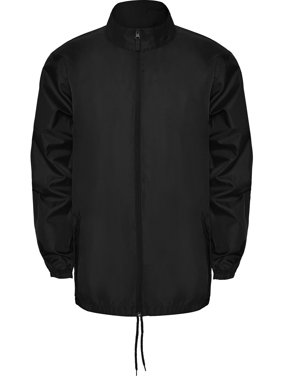 Thin Windbreaker Rain Jacket Foldable Hood - IF FOR MEN: SIZING RUNS SMALL GET THE NEXT SIZE UP - Full Zip - Pockets With Flap And Zipper - Packable - Adjustable Drawcords