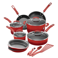 Rachael Ray Hard Enamel Aluminum Non-Stick Red Cookware Set, 15 Piece