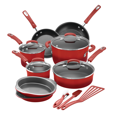 Rachael Ray 15 Piece Hard Enamel Aluminum Nonstick Cookware (Rachael Ray 2 Piece Nylon)