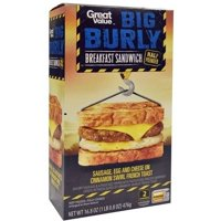 Great Value Big Burly Sausage, Egg and Cheese on Cinnamon Swirl French Toast Breakfast Sandwich, 2 ct, 16.8 oz