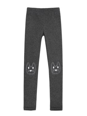 HDE Girls Fleece Winter Knit Leggings Kids Nordic Stretch Pants Footless Tights Heart Star Medium 7-8 Heart Star Medium 7 8