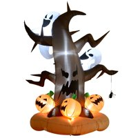 HOMCOM 8ft Halloween Inflatable Lighted Outdoor Decoration LED Dead Tree with Ghost Pumpkins