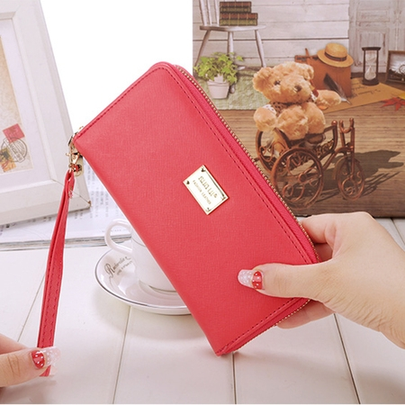 Women Ladies Fashion Faux Leather Clutch Wallet Card Holder Long Purse Zipper  High-capacity Wallet Bag Red