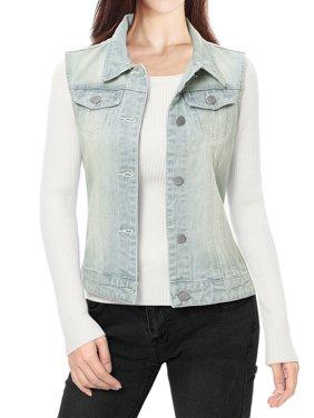 Women Buttoned Washed w Flap Pockets Denim Vest Coat
