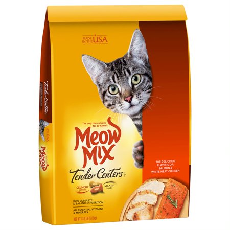 Meow Mix Tender Centers Salmon & White Meat Chicken Flavors Dry Cat Food, 13.5-Pound](Cat's Meow Halloween)