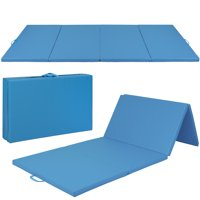 Best Choice Products 10ft 4-Panel Extra-Thick Foam Folding Exercise Gym Floor Mat for Gymnastics, Aerobics, Yoga, Martial Arts w/ Carrying Handles - Blue