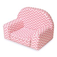 "Badger Basket Upholstered Doll Chair with Foldout Bed - Pink Chevron - Fits American Girl, My Life As & Most 18"" Dolls"