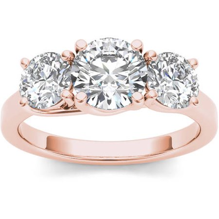 2 Carat T.W. Diamond Three-Stone 14kt Rose Gold Engagement Ring (2 carat diamond rings for women)
