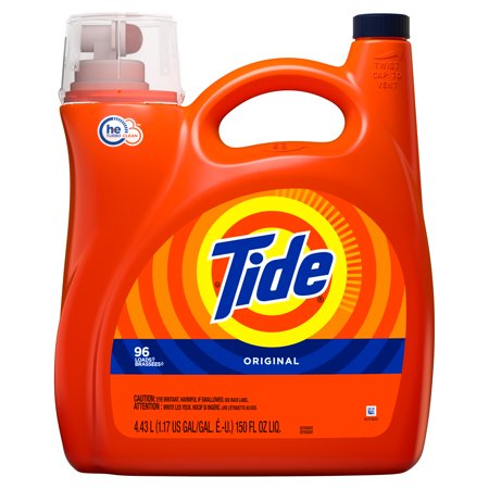 - Tide HE Turbo Clean Liquid Laundry Detergent, Original, 96 Loads 150 fl oz