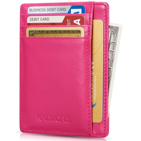 - Credit Card Holder with ID Window RFID Protected Genuine Leather Slim Wallet (Rose)