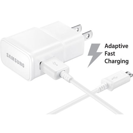 Verizon Samsung Galaxy J3 (2016) Adaptive Fast Charger Micro USB 2.0 Cable Kit! [1 Wall Charger + 5 FT Micro USB Cable] AFC uses dual voltages for up to 50% faster charging! - Bulk