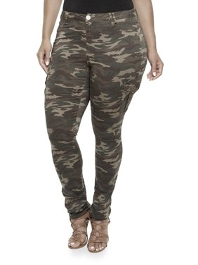 Jack David Womens Plus Size Camouflage cargo Stretch Skinny Leg twill Jean Pants