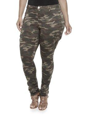 Jack David Womens Plus Size Camouflage cargo Stretch Skinny Leg twill Jean Pants