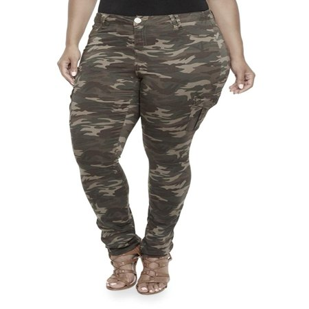 - Jack David Womens Plus Size Camouflage cargo Stretch Skinny Leg twill Jean Pants