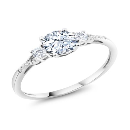 8 Lab White Sapphire Ring - Diamond Accent 10K White Gold Round Hearts and Arrows White Created Sapphire Ring 1.35 cttw