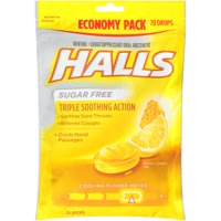 Halls Sugar Free Honey Lemon Cough Suppressant/Oral Anesthetic Menthol Drops 70 ct Bag