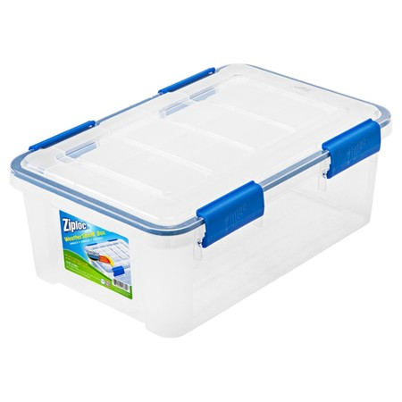Ziploc 16 Qt./4 Gal. WeatherShield Storage Box, Clear](Clear Storage Bins)