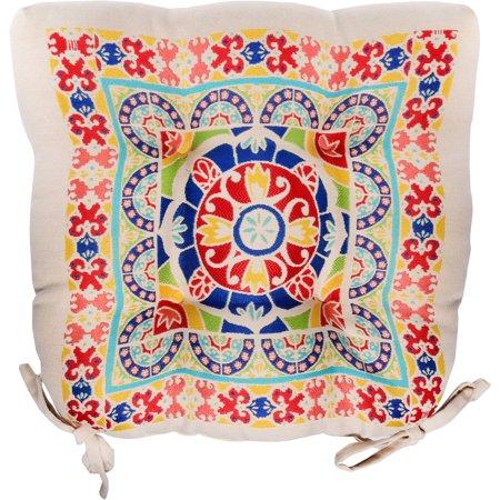 Mainstays Medallion Chair Cushion, Multi color, Single
