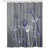 "InterDesign Thistle Fabric Shower Curtain, Standard 72"" x 72"", Gray/Purple"