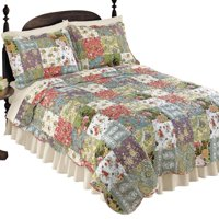 Blossom Floral Patchwork Reversible Lightweight Bedding Quilt with Multiple Colors - Paisley & Floral Patterns, Scalloped Edges & Vermicelli Stitching, Full/Queen, Multicolor