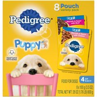 (2 Pack) PEDIGREE CHOICE CUTS Puppy Morsels in Sauce Wet Dog Food Variety Pack With Chicken and With Beef, (8) 3.5 oz. Pouches
