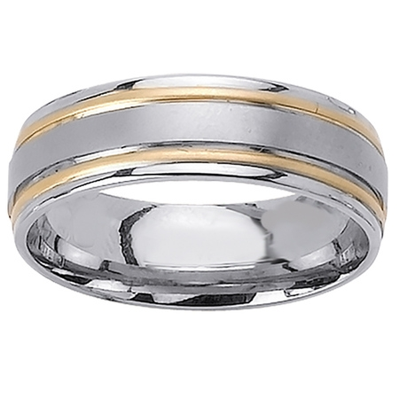 14K Two Tone Gold Park Ave Modern Comfort Fit Women's Wedding Band (7mm) (Modern Two Tone Wedding Band)