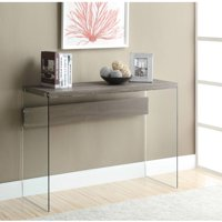 Monarch Console Table Dark Taupe With Tempered Glass