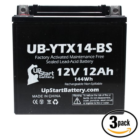 3-Pack UpStart Battery Replacement 1992 Yamaha FJ1200 (All) 1200 CC Factory Activated, Maintenance Free, Motorcycle Battery - 12V, 12AH, UB-YTX14-BS