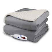 9d07cde2769 Biddeford Luxuriously Soft Electric Heated Micro Mink and Sherpa Throw  Blanket