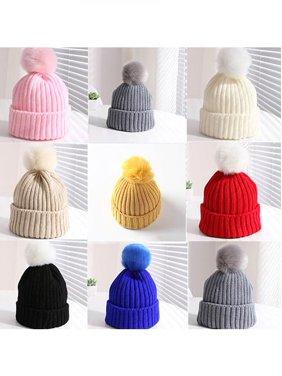 cf679d07854 Product Image Kids Children Boy Girl Winter Warm Knit Beanie Hat Beret Crochet  Cap with Fluffy Ball