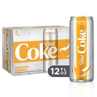 (3 Pack) Diet Coke Twisted Mango Soda Slim Can, 12 Fl Oz, 8 Count