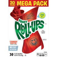 Fruit Roll-Ups Strawberry Sensation Fruit Flavored Snacks Pouches, 0.5 Oz., 30 Count