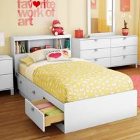 Spark Twin Storage Bed and Bookcase Headboard, Multiple Finishes