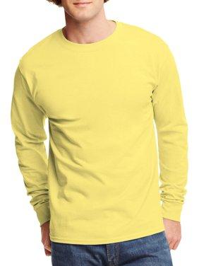 Mens Tagless Cotton Crew Neck Long-Sleeve Tshirt