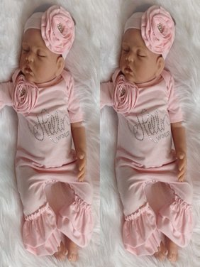 Newborn Kid Baby Girls Flower Romper Bodysuit Jumpsuit Headband Outfits Clothes Fit For 0-18M
