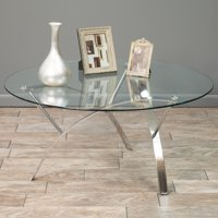 Noble House Bates Round Glass Coffee Table
