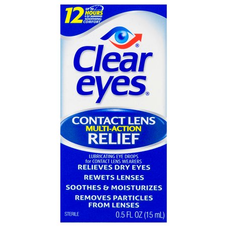 Clear Eyes Contact Lens Multi-Action Relief Eye Drops, 0.5 FL