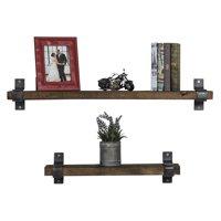 Industrial Grace Floating Shelves, Two-Piece Set, Dark Walnut