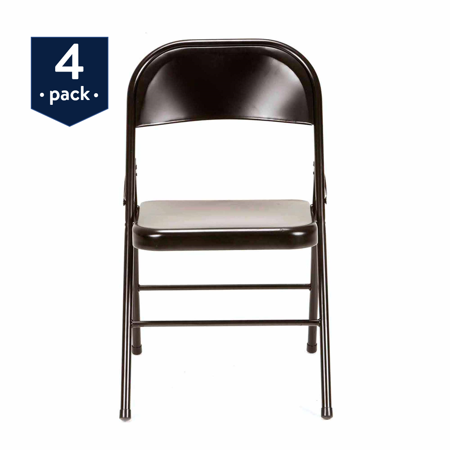 Mainstays Steel Folding Chair (4-Pack), (Back Plastic Folding Chair)
