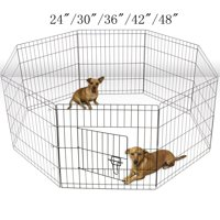 """Zimtown 24""""/30""""/36""""/42""""/48"""" Tall Pet Dog Playpen Foldable Metal Exercise Fence Cage Kennel with Door 8 Panel Outdoor Indoor"""