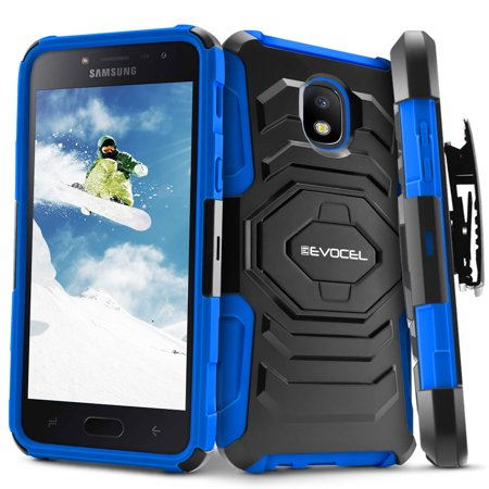 Dual Pocket Case - Galaxy J7 (2018) Case, Evocel [Belt Clip Holster] [Kickstand] [Dual Layer] New Generation Series Phone Case for Samsung Galaxy J7 (2018) / J7 V 2nd Gen / J7 Refine / J7 Crown / SM-J737P , Blue