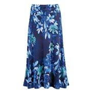 a2ecc932ae95 Women's Dressy/Casual Floral Print Maxi Skirt with Elastic Waist, X-Large,