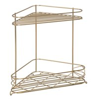 Better Homes & Gardens Diamond 2-Tier Soft Brass Corner Shelf, 1 Each