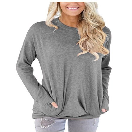 Embroidered Two Pocket Sweatshirt - JustVH Women's Long Sleeve Casual Sweatshirt Pullover Loose Tunic Shirts Blouse Tops With Pocket