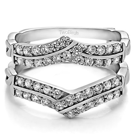 Double Row Criss Cross Ring Guard Enhancer in Sterling Silver (0.66ctw) ()