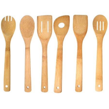 Home Basics Bamboo Kitchen Cutlery Tool Set, 6-Piece