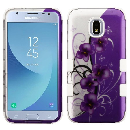TUFF Hybrid Series Phone Protector Cover Case and Atom Cloth for Samsung Galaxy J3 Achieve - 2D Twilight Petunia Flowers