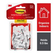 Command Small Wire Hooks Value Pack, White, 14 Hooks, 24 Strips (holds 0.5 lb)