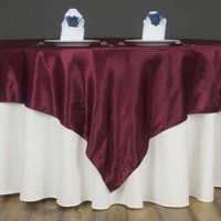 """Efavormart 60"""" SATIN Square Table Overlay Table Toppers For Birthday Party Wedding Catering Event Table Decorations"""